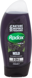RADOX Men Feel Wild Blackberry & Ginger 2in1 Pánský sprchový gel 250 ml